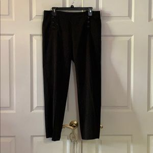 Black pants with white pin stripe